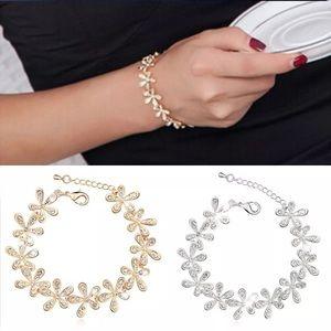 Silver Flower Floral CZ Bracelet